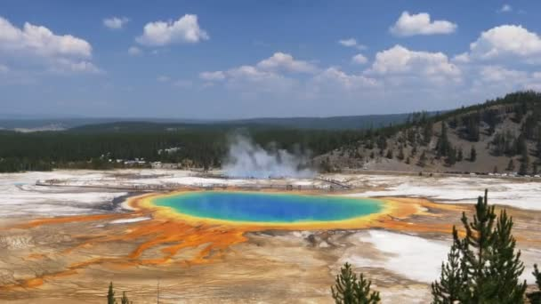 wide angle view of grand prismatic pool in yellowstone
