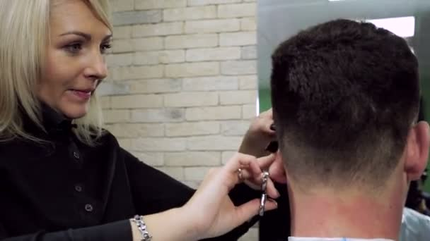Haircut At Barbers Female Hairdresser Shaping Mens Hair Into A