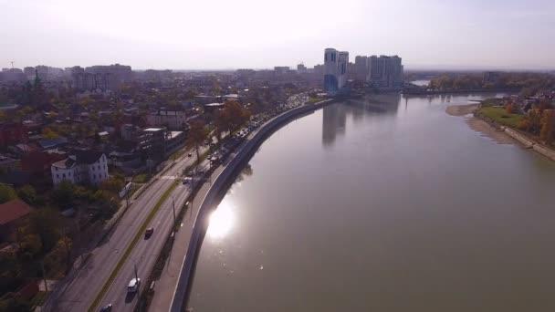 Aerial shot of the russian south city - Krasnodar. The river Kuban. 4K