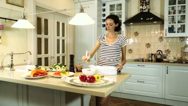 Cooking Ratatouille Young Woman Pouring Sunflower Oil In A Baking Dish And Adding Tomato Sauce Hd
