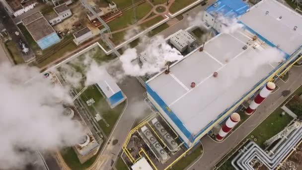 Luftaufnahme von Woronesch. Draufsicht der moderne Wärme-Kraftwerk. Russland. 4k