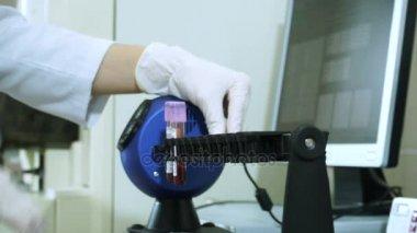 Női laboratóriumi asszisztens készül egy kémcsőbe, vér analízis. HD