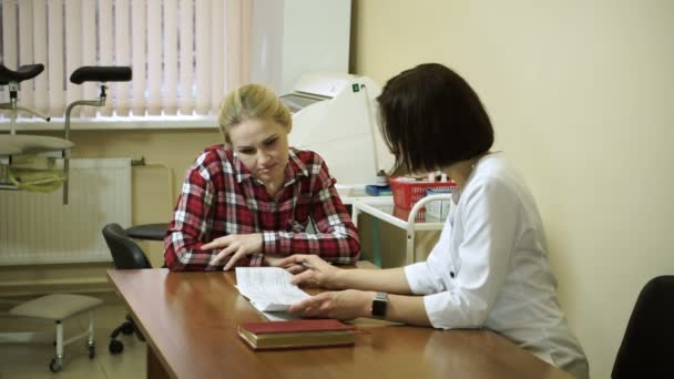 A visit to the doctor. A young woman is on consultation at gynecologist. HD