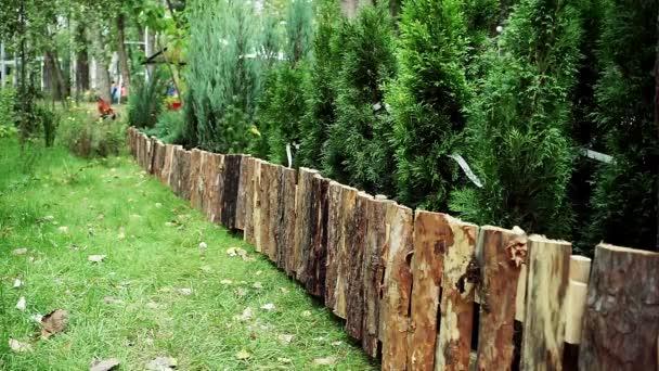 Landschaftsplanung. Holzzaun aus Kiefernstämmen. hd