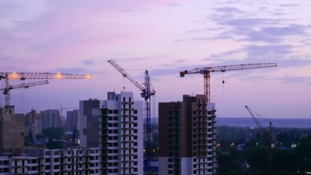 Construction site. The construction of a residential house. Voronezh. Russia. 4K