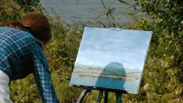 Peyzaj Ressamı Yağlı Boya Ile Doğal Bir Manzara Resmi Ressamın
