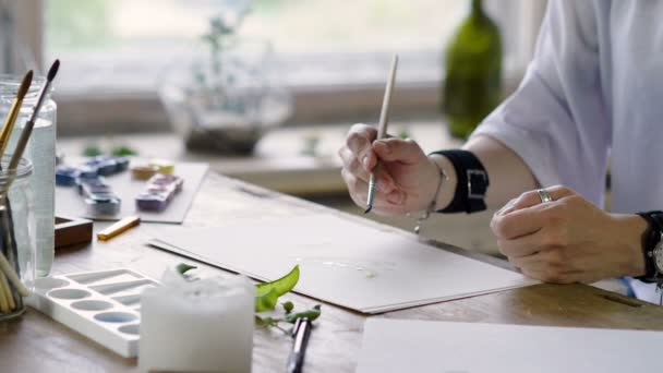 Close-up shot of unknown female artists hands painting with watercolor a picture with a green pea pod. 4K
