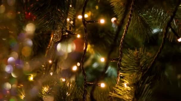 Malá barevná světla na ozdobený stromeček. 4k