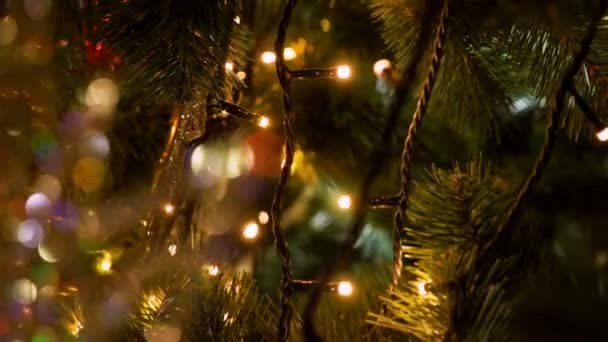 Kleine Gekleurde Lampjes Op Versierde Kerstboom 4k Stockvideo