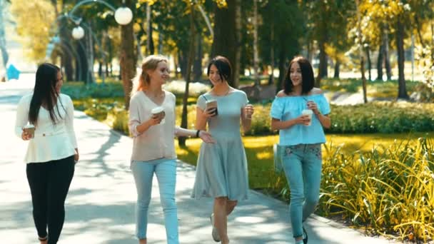 Four young beautiful women walking in the park, talking and drinking coffee. Slow motion. HD