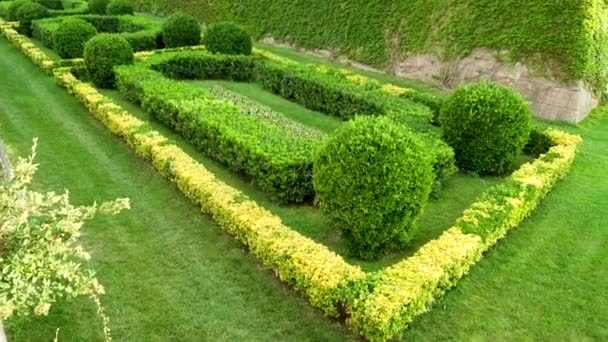 Scenic landscape of beautiful garden in public spanish park. Barcelona. Spain. 4K