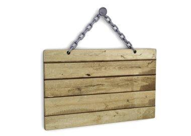 Wood Signboard - 3D
