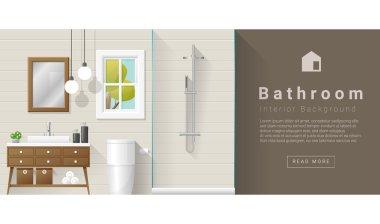 """Картина, постер, плакат, фотообои """"современный фон ванной комнаты, вектор, иллюстрация зеркало раме зеркала настенное декоративное"""", артикул 126194000"""