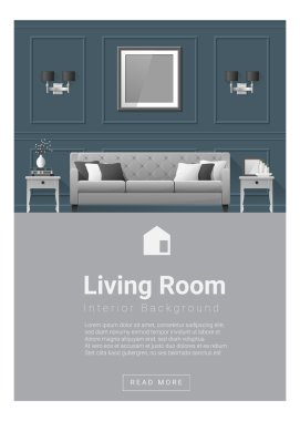 Interior design Modern living room banner , vector, illustration