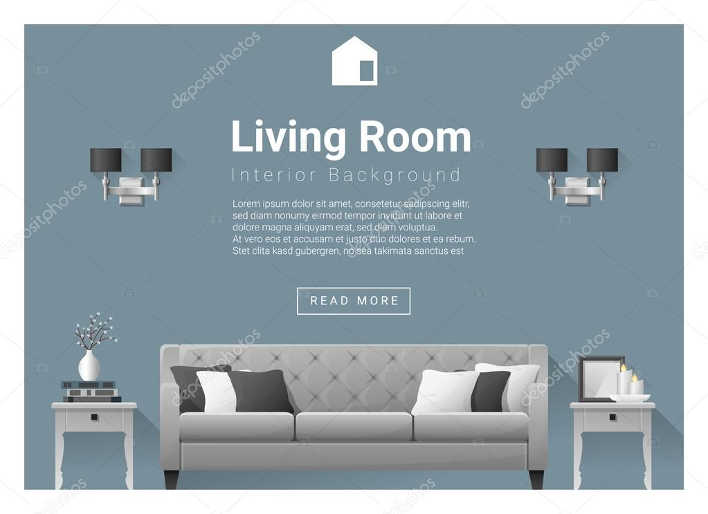 modern living room interior background vector illustration