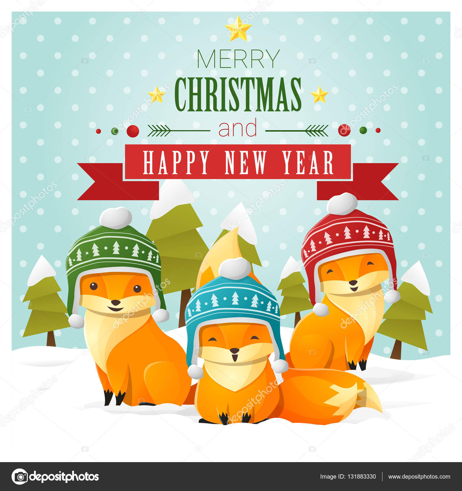 merry christmas and happy new year greeting card with fox family vector illustration