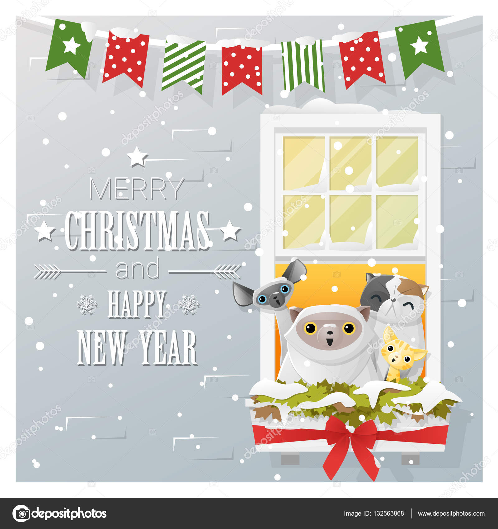 merry christmas and happy new year greeting card with cat family vector illustration