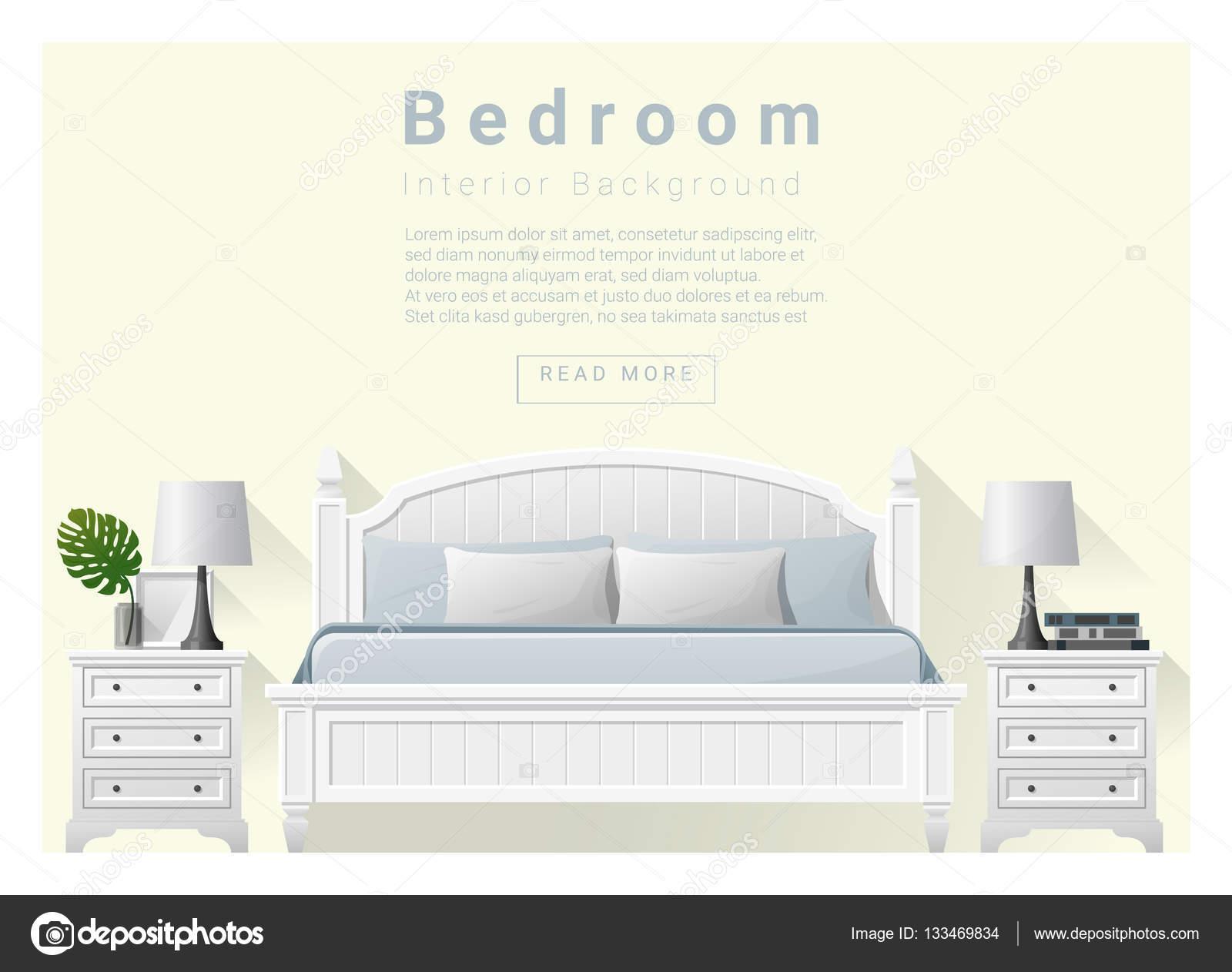 현대 침실 배경 인테리어 디자인, 벡터, 삽화 — 스톡 벡터 ...