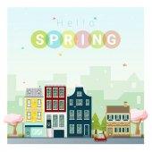 Dobrý den, na jaře panoráma pozadí, vektor, ilustrace