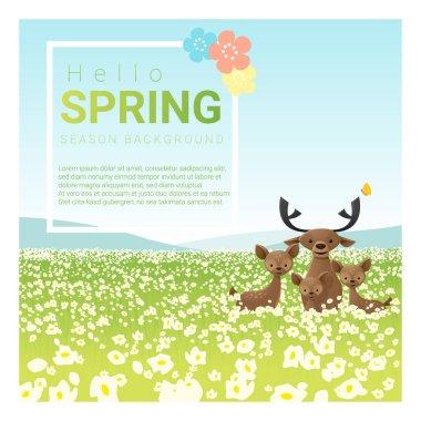 Hello spring landscape background with deer family , vector , illustration