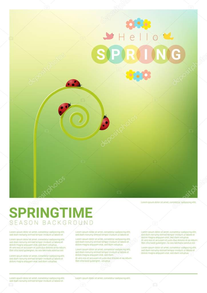 Hello spring background with red ladybugs , vector , illustration