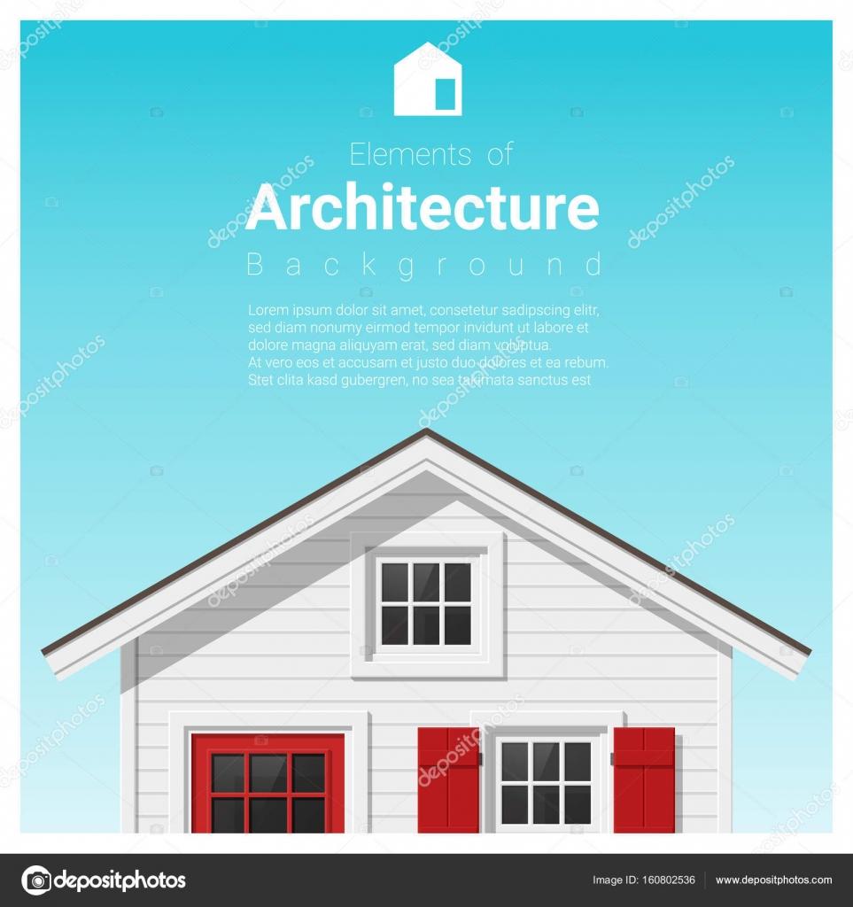 Elemente der Architektur Hintergrund mit einem kleinen Haus, Vektor ...