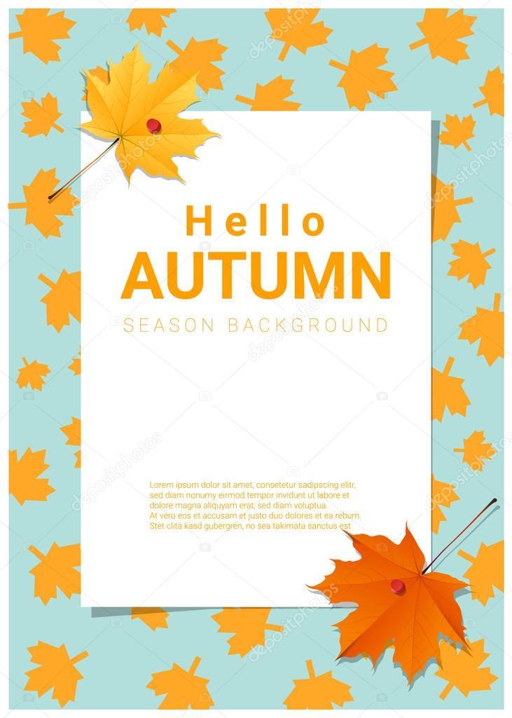 Blank poster on autumn theme background , vector , illustration
