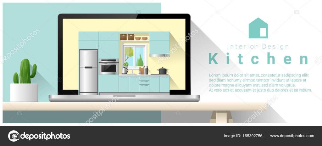 Moderne Küche-Interior Design-Hintergrund, Vektor, Abbildung ...
