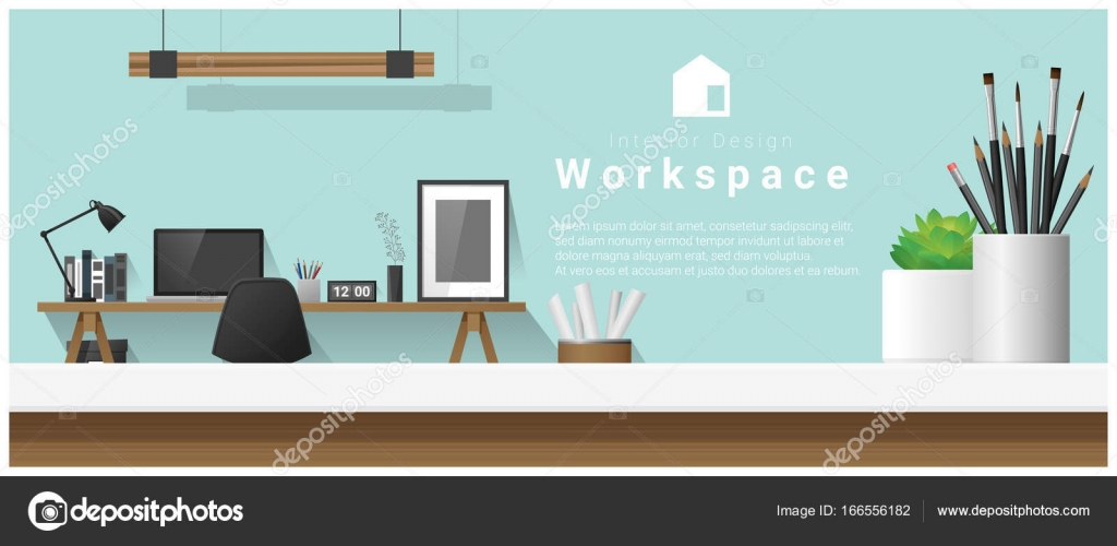 Interior Design mit Tischplatte und moderne Office-Arbeitsplatz ...