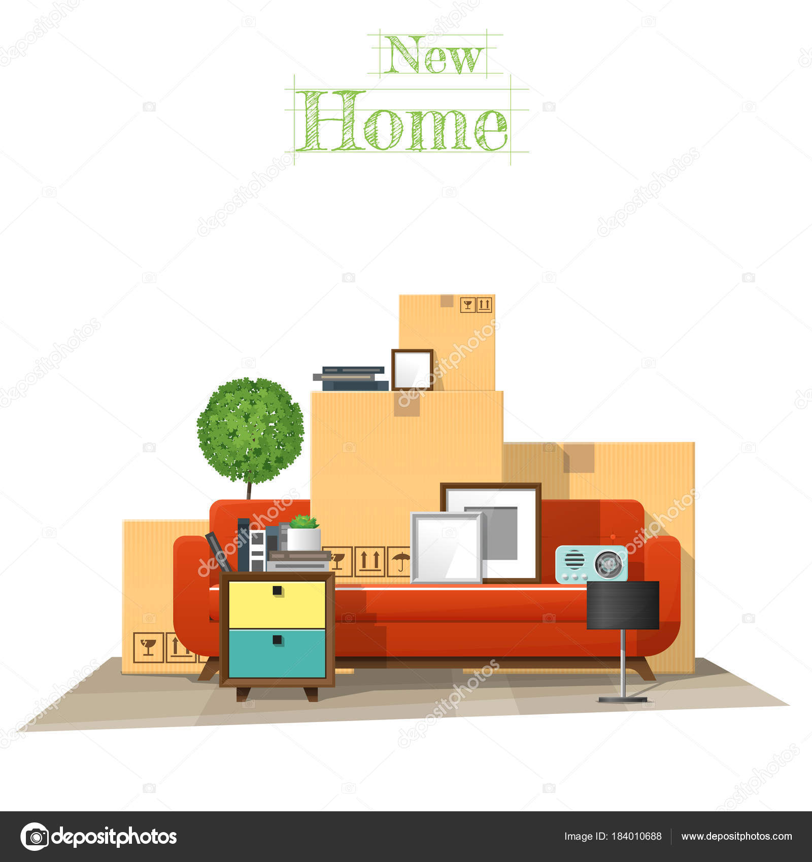 Moving Home Concept Background Cardboard Boxes Furniture New Living ...