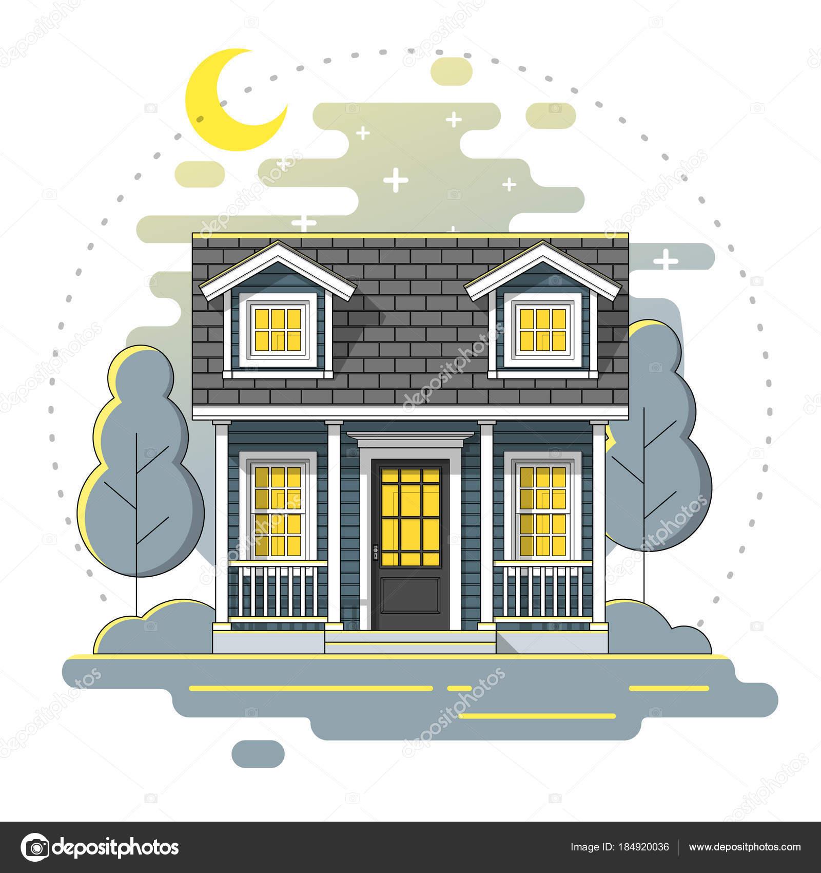 Kleines Haus Und Schöne Landschaft Nacht Szenenhintergrund Flache ...