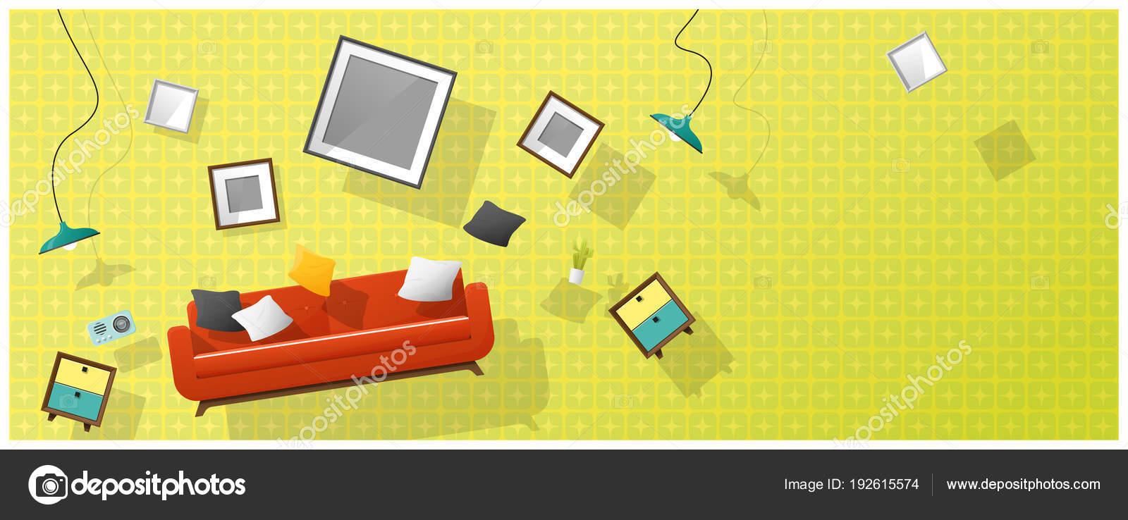 Innenraum Konzept Hintergrund Mit Möbeln Schwebt Ins Neue Wohnzimmer ...