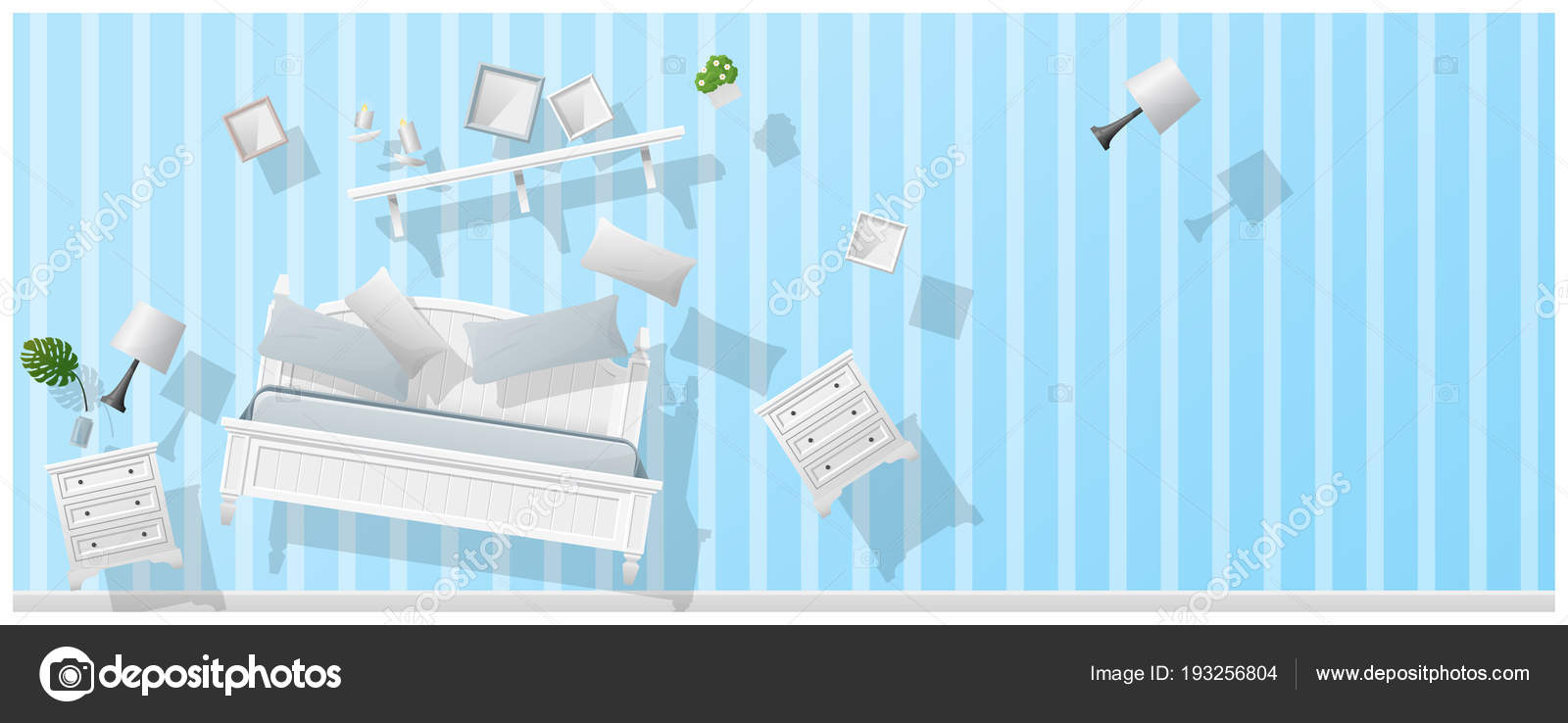 Interior Concept Background Furniture Hovering New Bedroom Vector