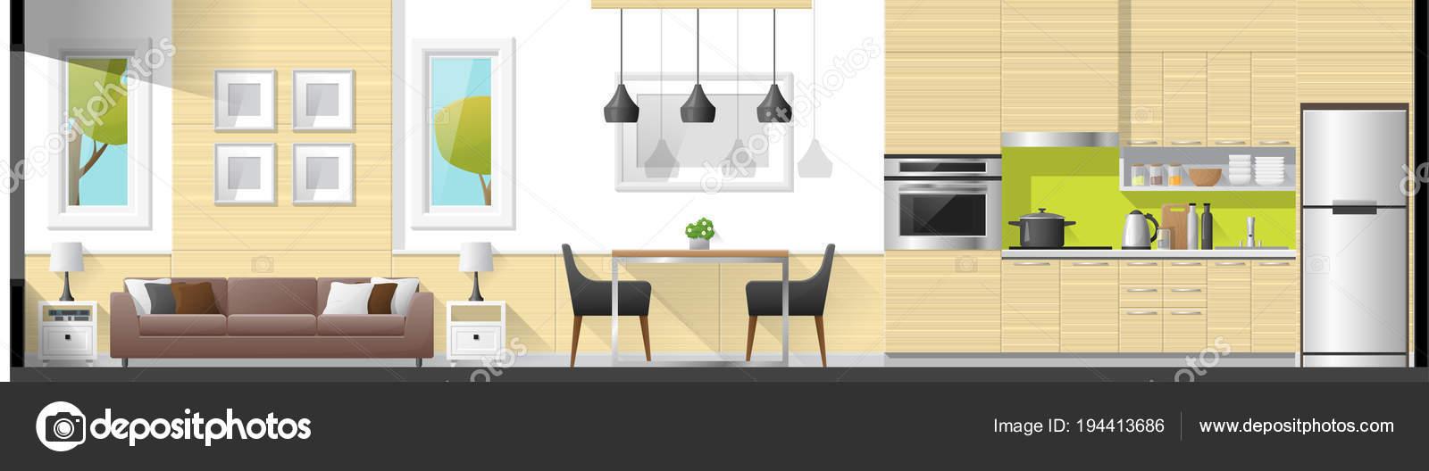 Haus Innenteil Panorama Hintergrund Wie Wohnzimmer Esszimmer Und ...