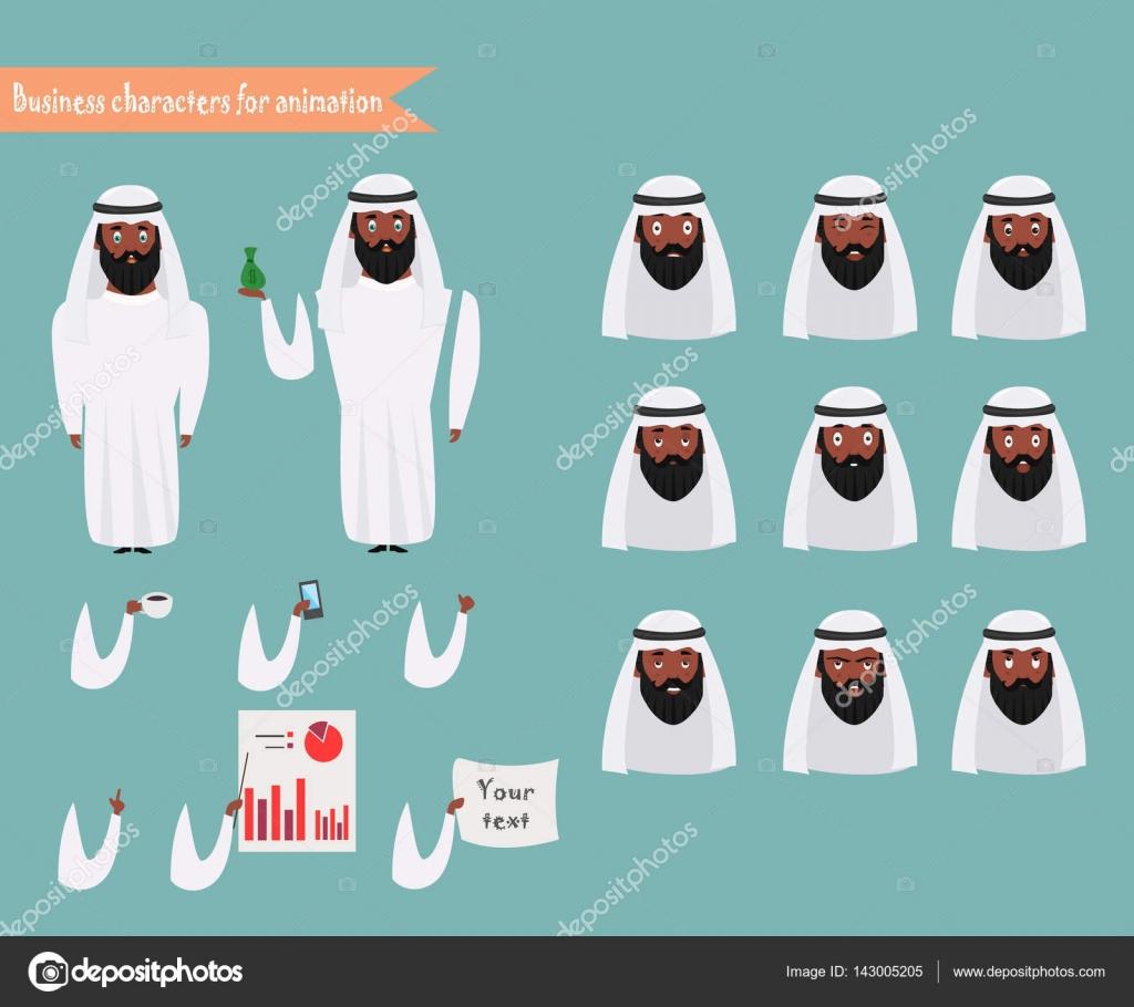Arabische Zeichen für Szenen. Teile des Körpers Vorlage für ...