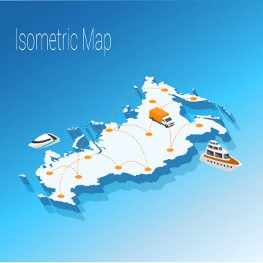 Map Russia isometric concept.