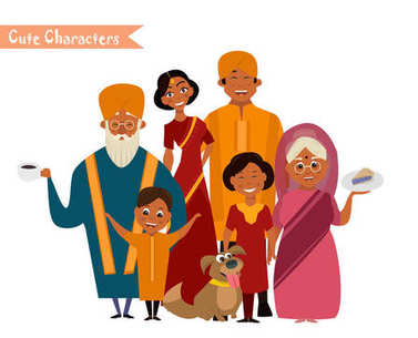 Big happy indian family in national dress isolated vector illustration. Parents, grandparents and children cartoon characters. Family generations standing together, senior couple with grandchildren clip art vector