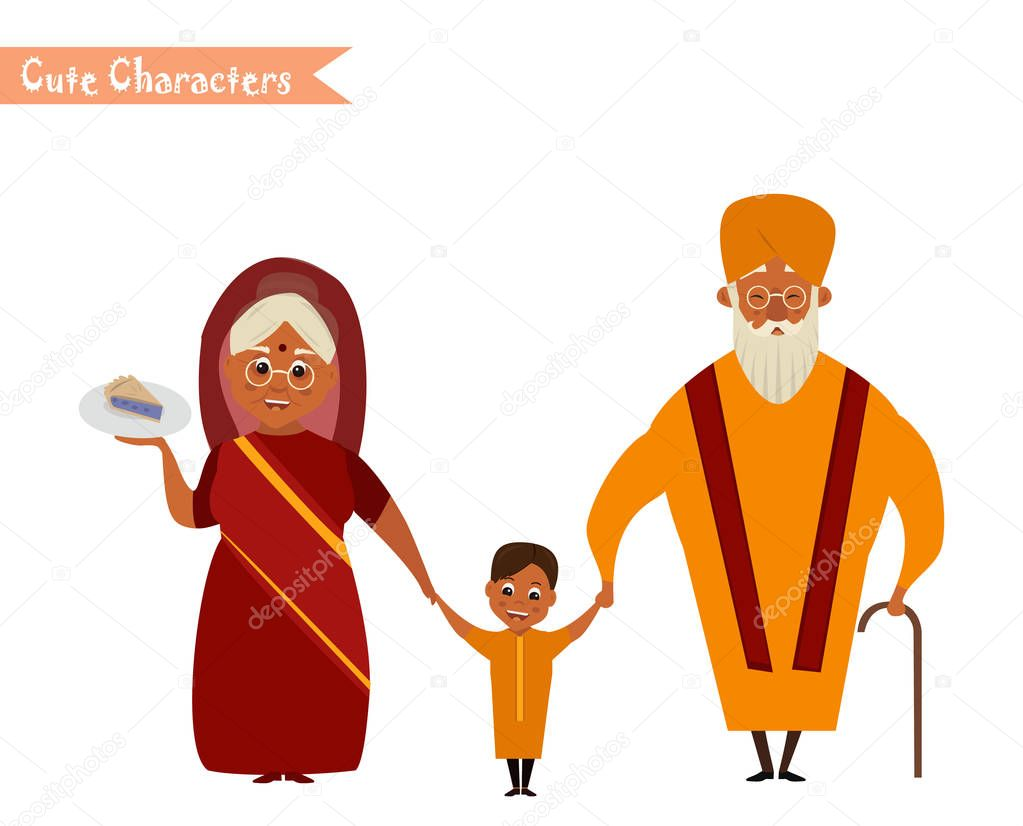 Happy Indian Family In National Dress Isolated Vector Illustration Grandparents And Children Cartoon Characters Senior Couple With Grandchildren Premium Vector In Adobe Illustrator Ai Ai Format Encapsulated Postscript Eps Eps Format