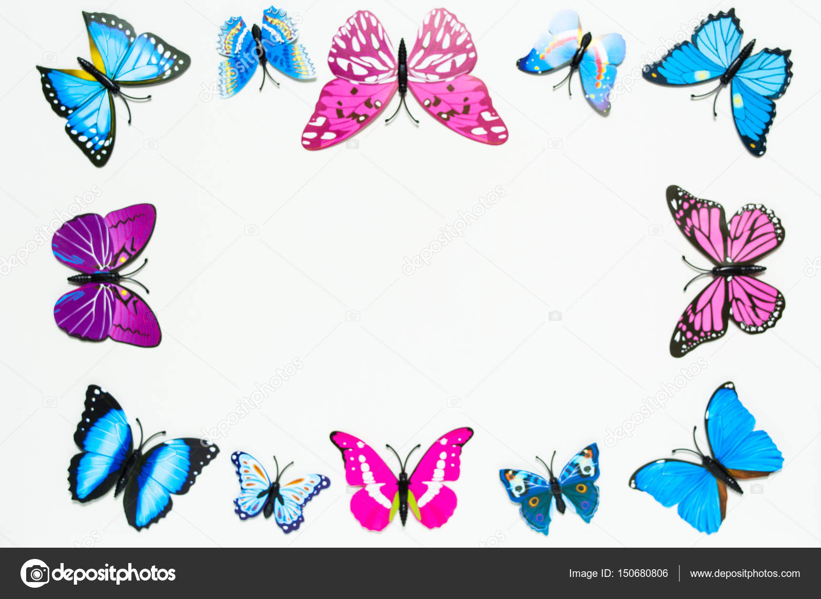 Butterfly frame decoration on white background — Stock Photo ...