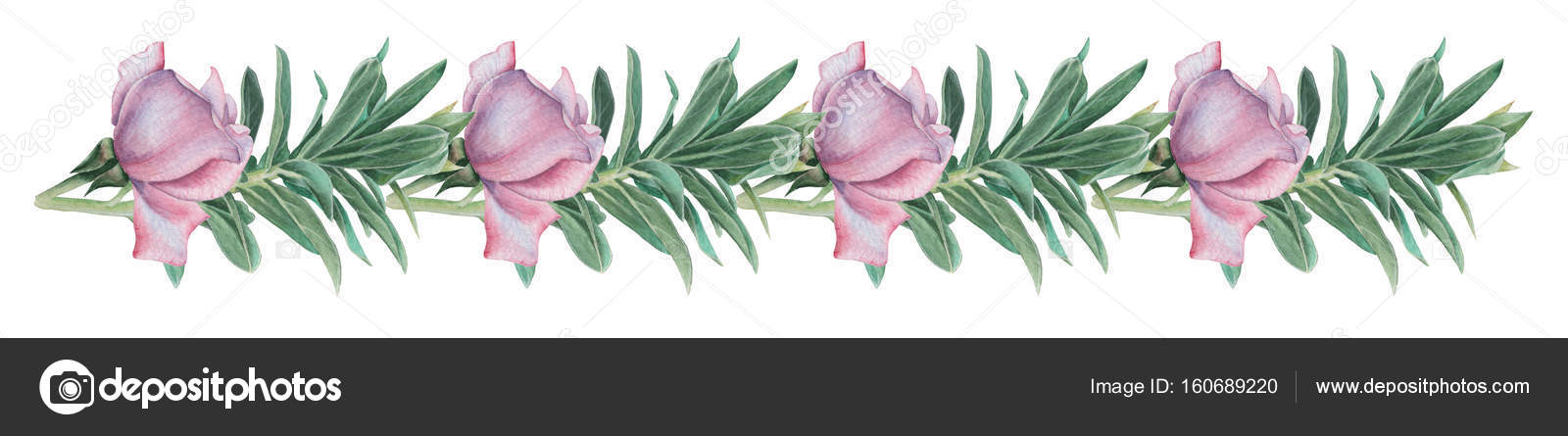 Hand painted watercolor charming combination of Flowers and Leaves ...