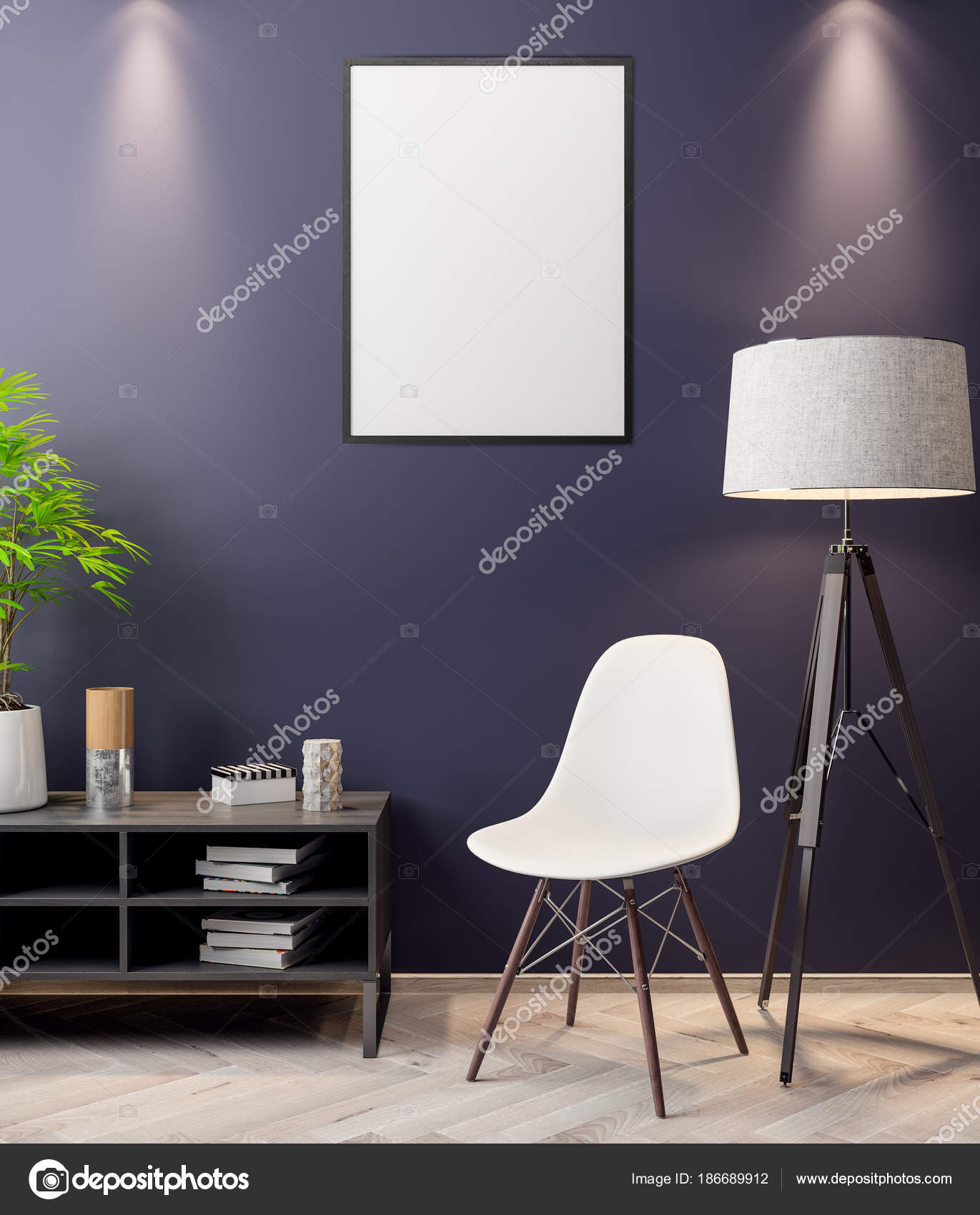 Mock-up-Poster in den Innenraum, 3d Illustration eines modernen ...