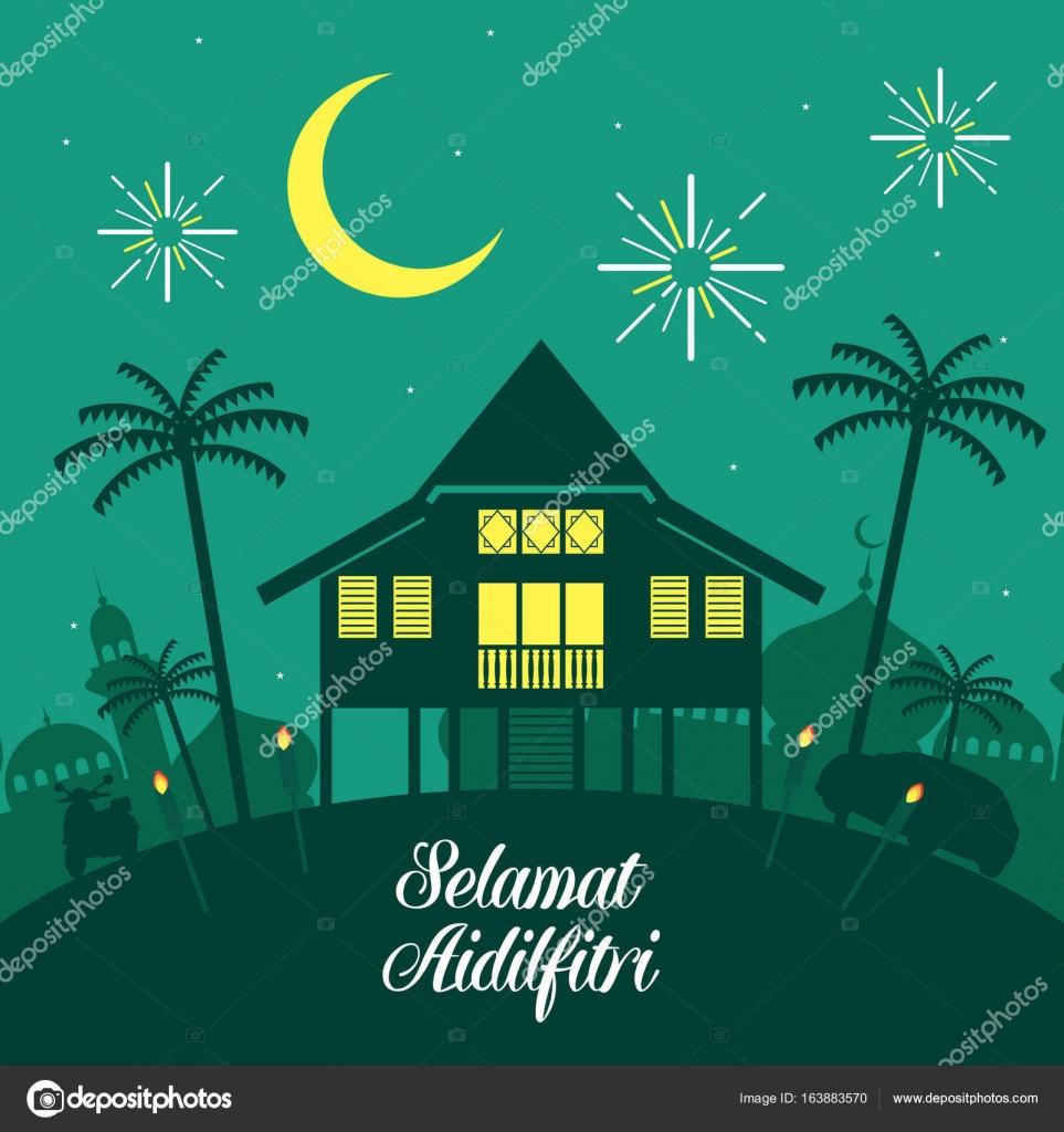 Hari Raya Aidilfitri векторные иллюстрации с традиционной