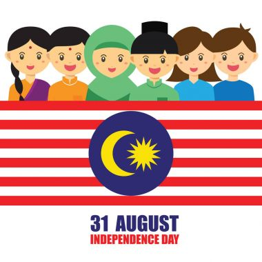 Malaysia National / Independence Day illustration. Cute cartoon character kids of Malay, Indian & Chinese hand in hand with Malaysia flag icon.