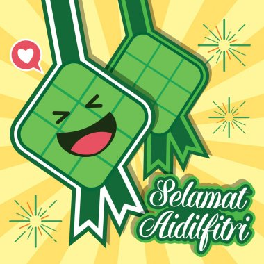 Hari Raya Aidilfitri vector illustration with cute ketupat.
