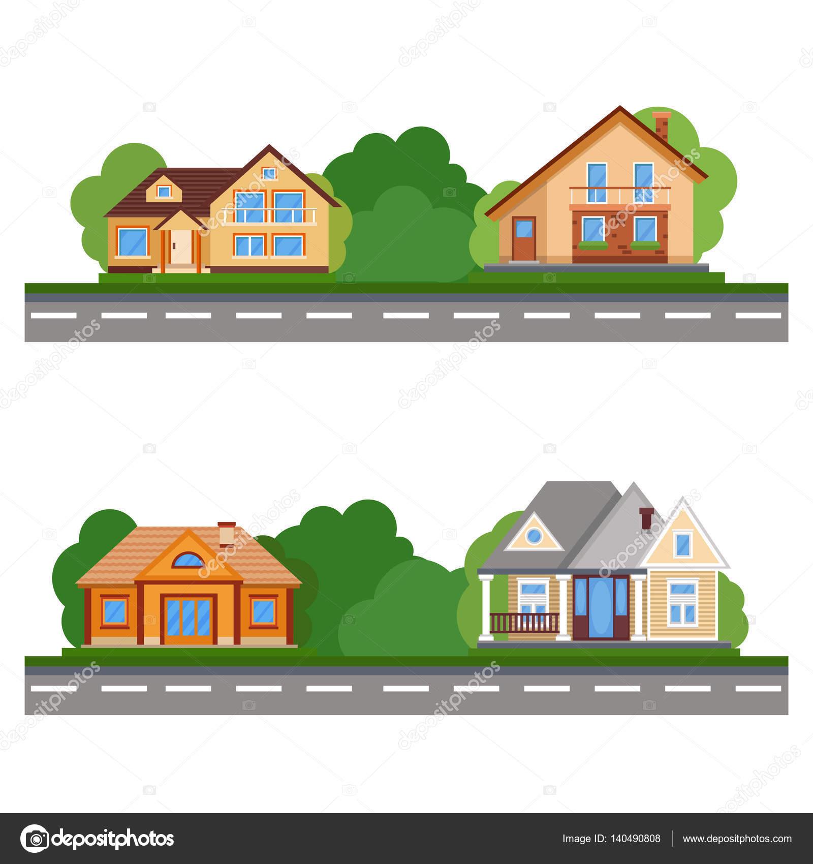 La calle de casas bonitas casa piso residencial colorido for Casa moderna vector