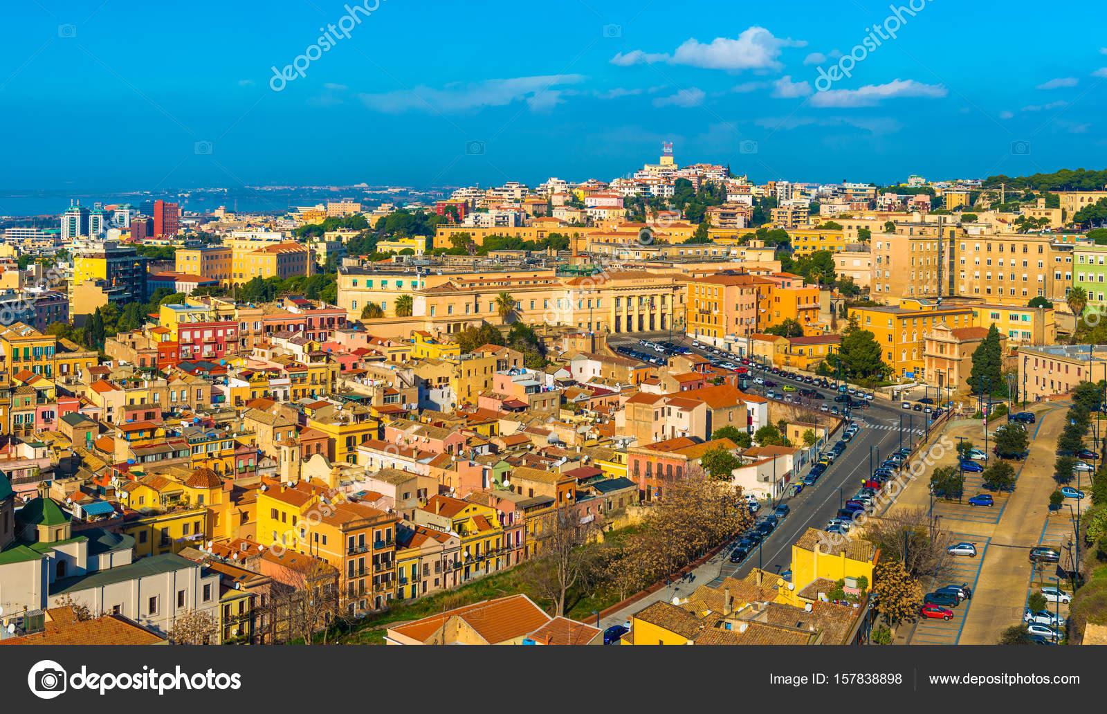 Cagliari, Italy: Cityscape of historic city center in ...