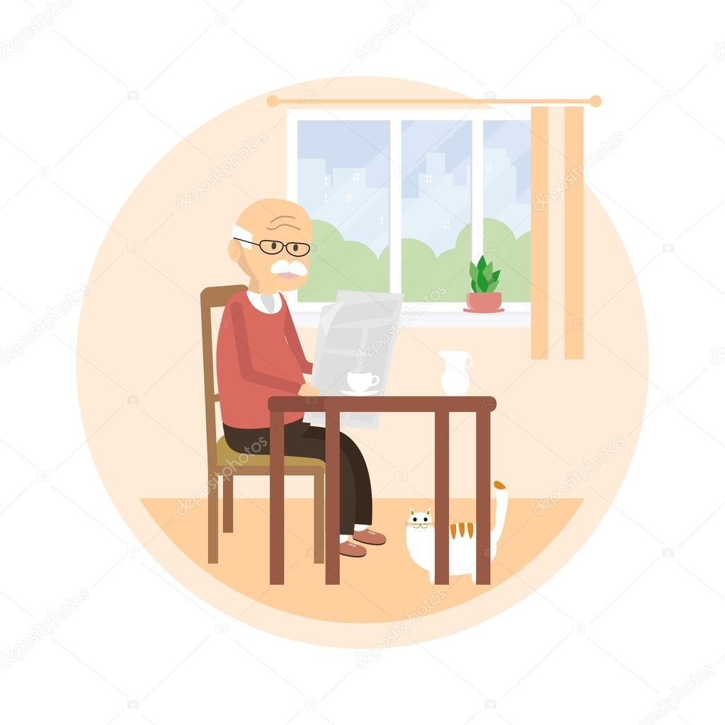 Enjoyable Old Man Reading A Newspaper Stock Vector C Fancy Tapis Squirreltailoven Fun Painted Chair Ideas Images Squirreltailovenorg