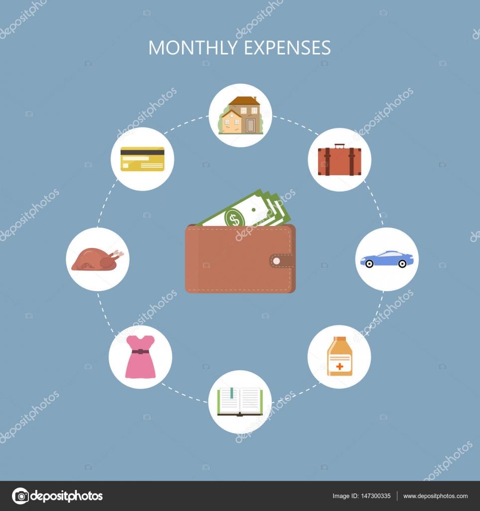 Monatliche Ausgaben-Konzept — Stockvektor © fancy.tapis.gmail.com ...