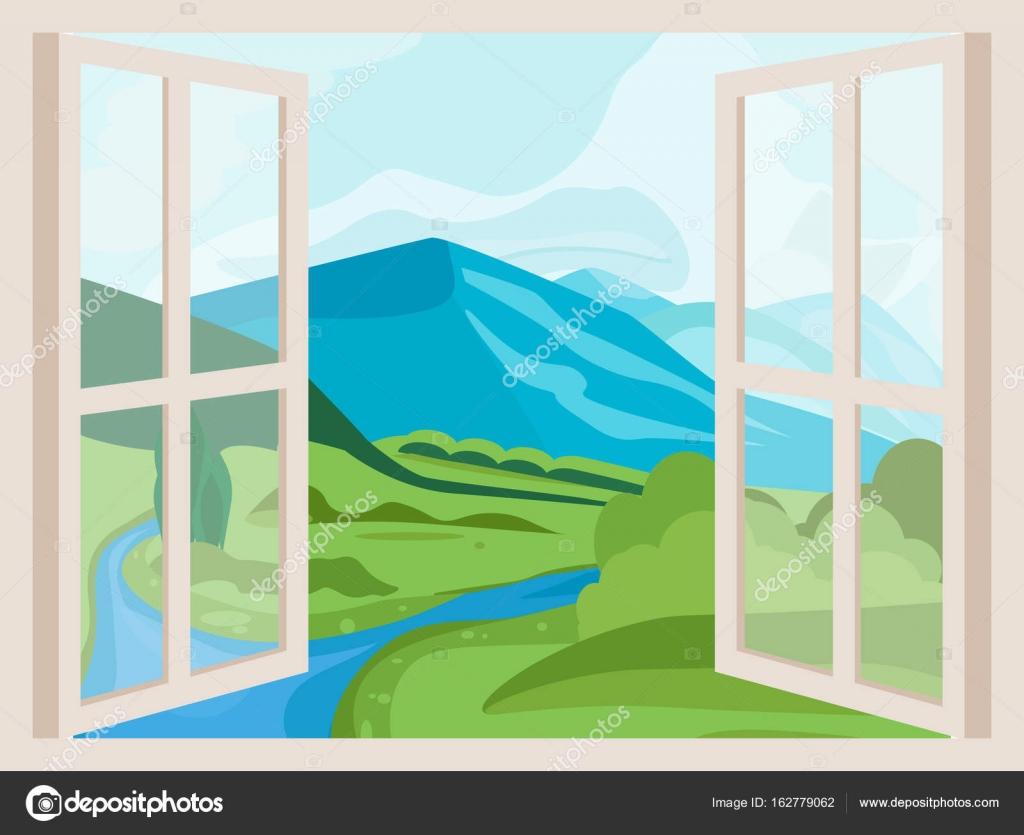 Picchi di montagna e fiume finestra aperta con una vista for Disegno di finestra aperta