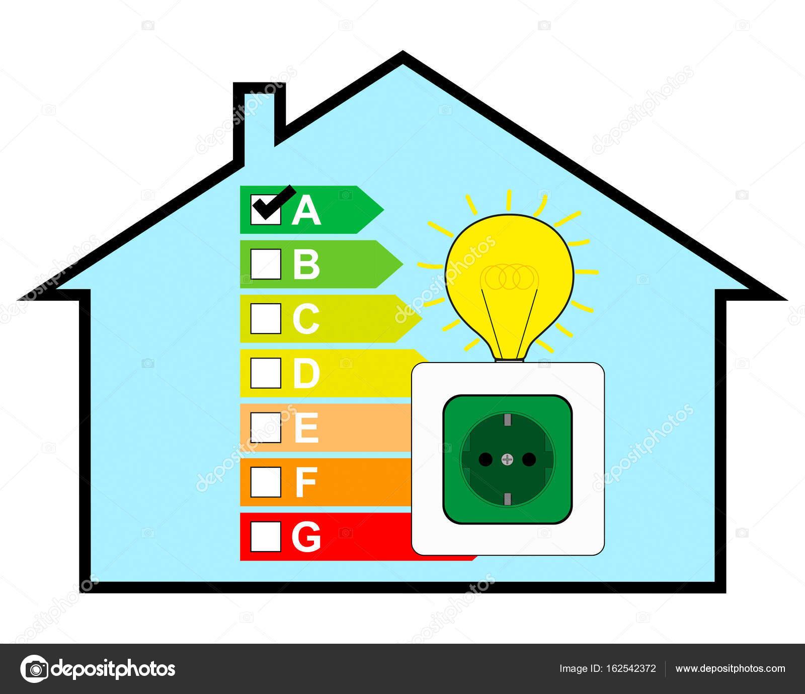 Energie Efficient Huis Met Label Energieklasse A Stockfoto